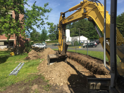 Construction begins with earthwork.