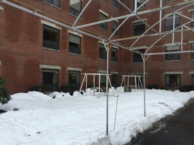 Before the project began, the residents sat behind the building with a view of the parking lot.