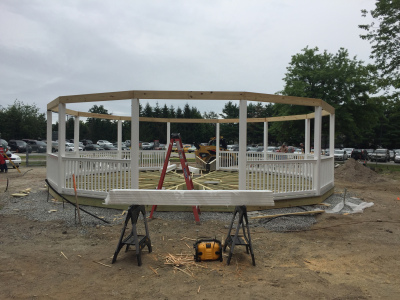 After the pier footers are poured, the assembly of the gazebo begins.