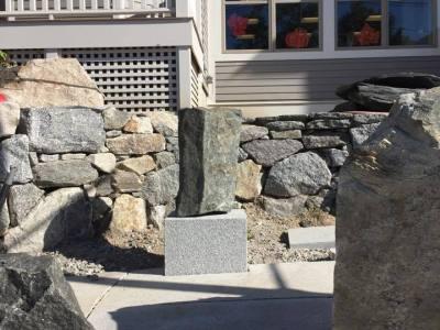 Multiple stonework projects start to take shape.