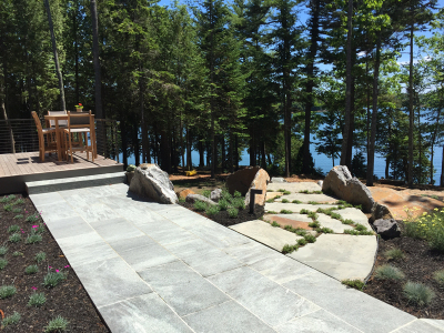 This is the view from the patio above the stone staircase, utilizing a wide variety of surface textures.