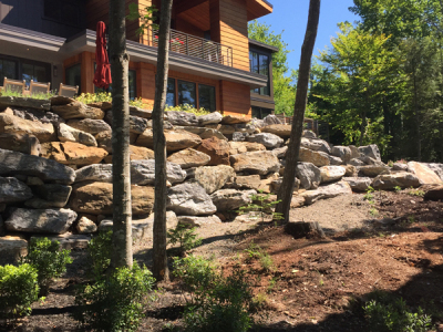 Below the boulder retaining wall, masses of Myrica shrubs help to prevent erosion.