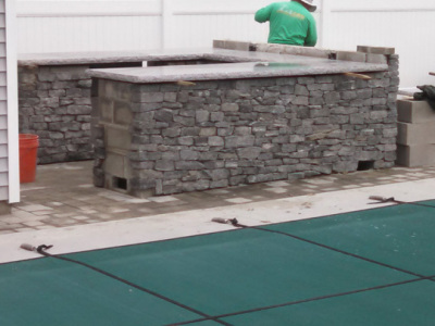 Granite counter tops are set in place.