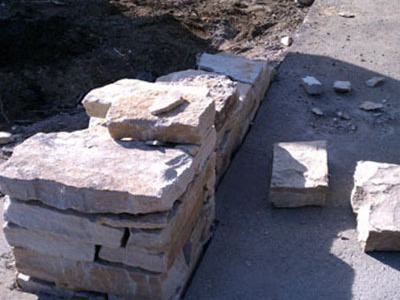 First wall stones are dry laid.