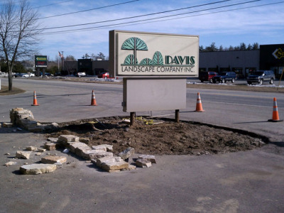With demolition complete, work begins on the new sign area.