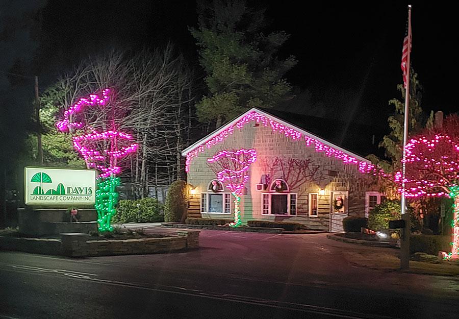 davis landscape building with holiday lights